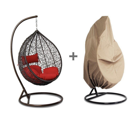 Luxury Hanging Hammock Porch Rattan Wicker Swing Chair with Free Cushion