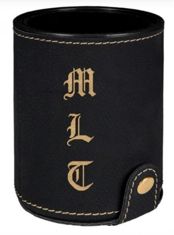 Black & Gold Leatherette Dice Cup with 5 Dice